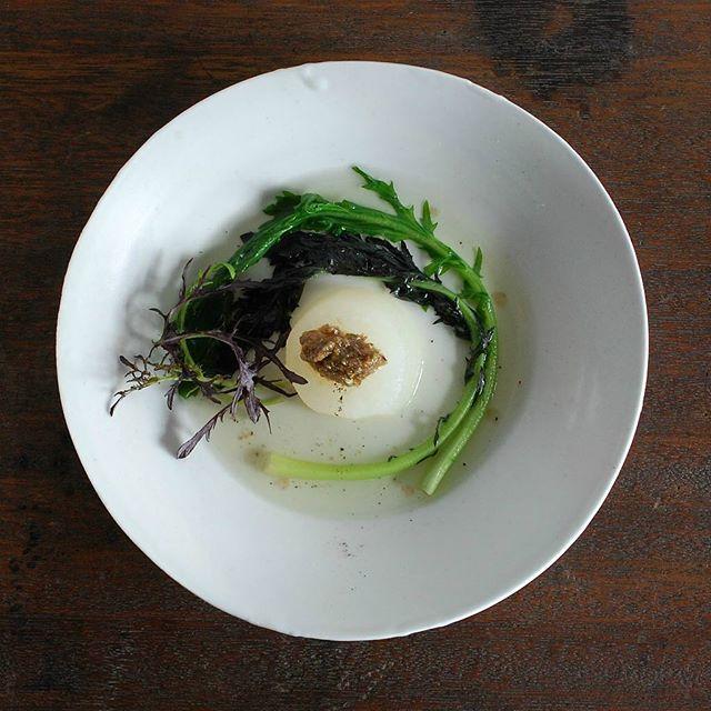 今月のpatisserie MiA『NATURE LUNCH』の一品。 自家製コンソメ炊き大根 ~ふきのとうのピストゥ添え~